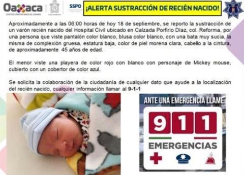 Roban bebé de un Hospital Civil en Oaxaca