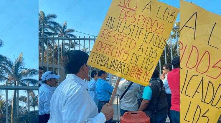 Protesta de petroleros en Coatza por despidos injustificados